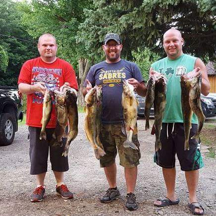 Risk Serra, Chris Postle, and Tom Postle III with ten walleye caught off of Dunkirk, NY in 100-107 feet of water. We stuck with our program and ended up with some quality fish.